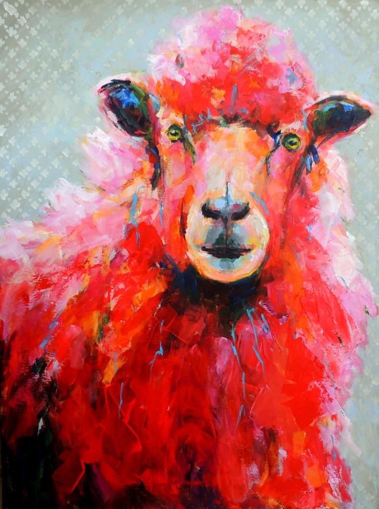 Rødt, nysgerrigt lam